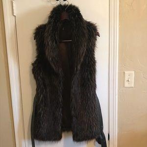 RU Brown Faux Fur Vest Long Length